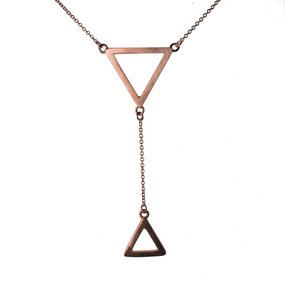 9ct Rose Gold Tri Drop Double Pendant