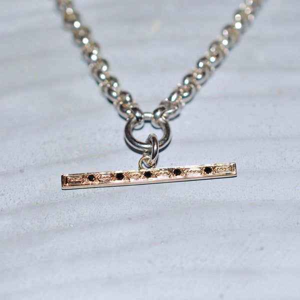 Silver & 9ct Gold Diamond T-bar