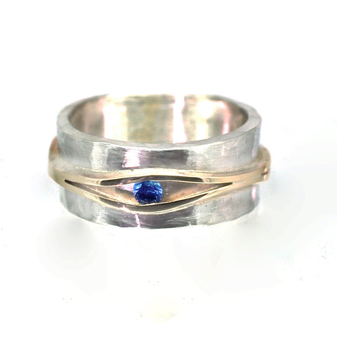 Textured Silver and Gold Ring with a Sapphire