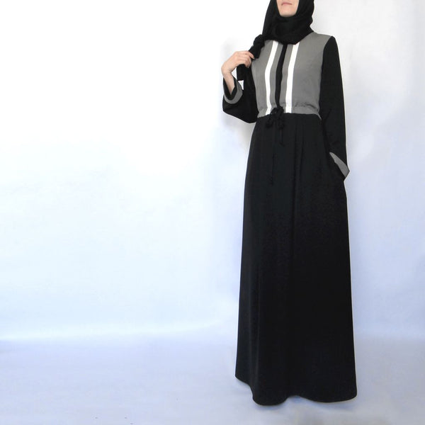 Hoodie Maxi Dress – Grey and Black-Dress, Abaya-Lana Lik Clothing