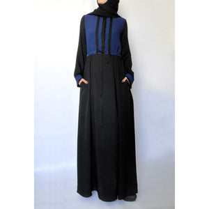 Hoodie Maxi Dress – Navy and Black-Dress, Abaya-Lana Lik Clothing