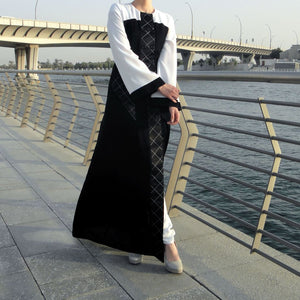 Quilted Pockets Abaya - Black/White-Abaya-Lana Lik Clothing