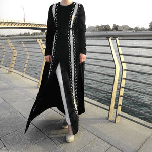Swirls Abaya - Black-Abaya-Lana Lik Clothing