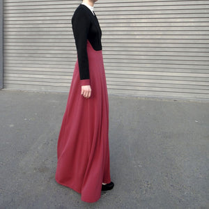 Turtle Neck Jersey Maxi Dress - Black / Magenta-Dress, Abaya-Lana Lik Clothing