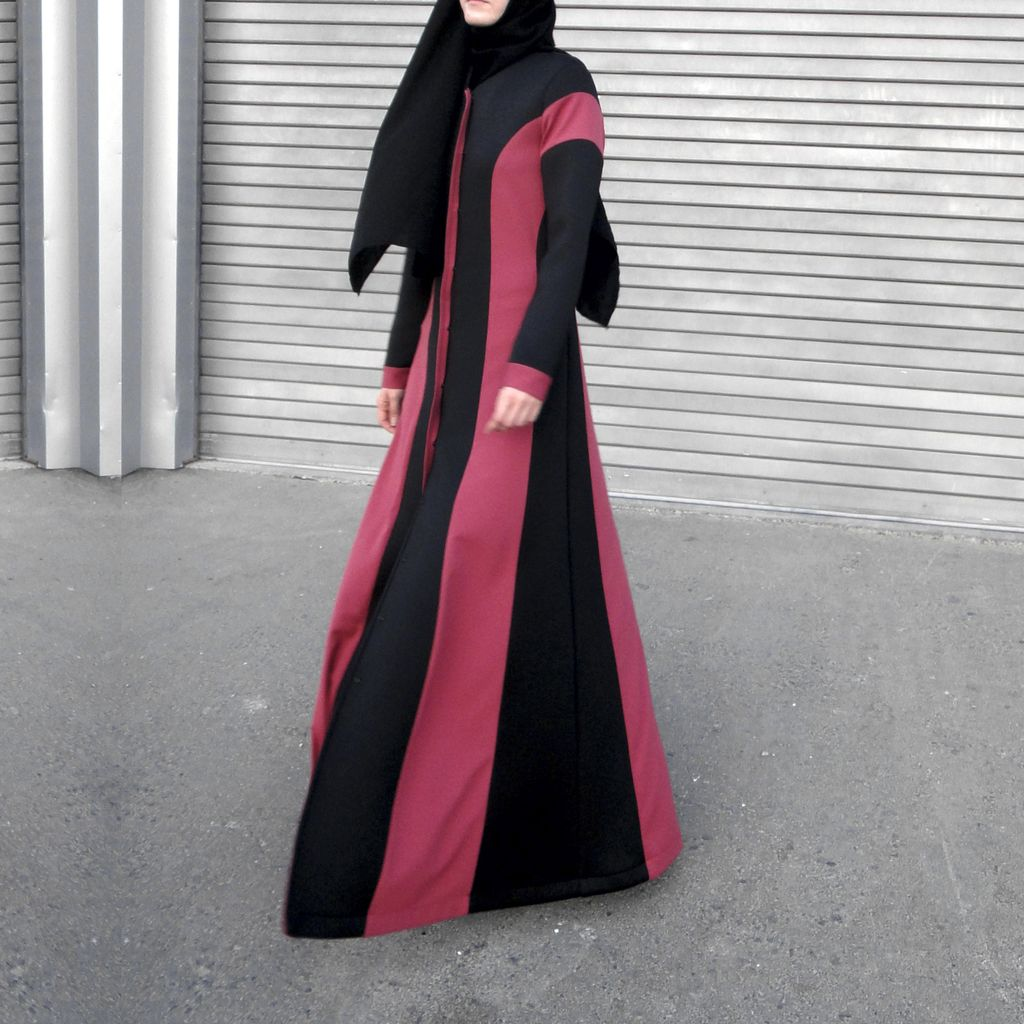 Magenta Stripes Abaya-Abaya-Lana Lik Clothing