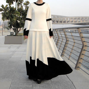 Low-waist Maxi Dress - White/Black-Dress, Abaya-Lana Lik Clothing