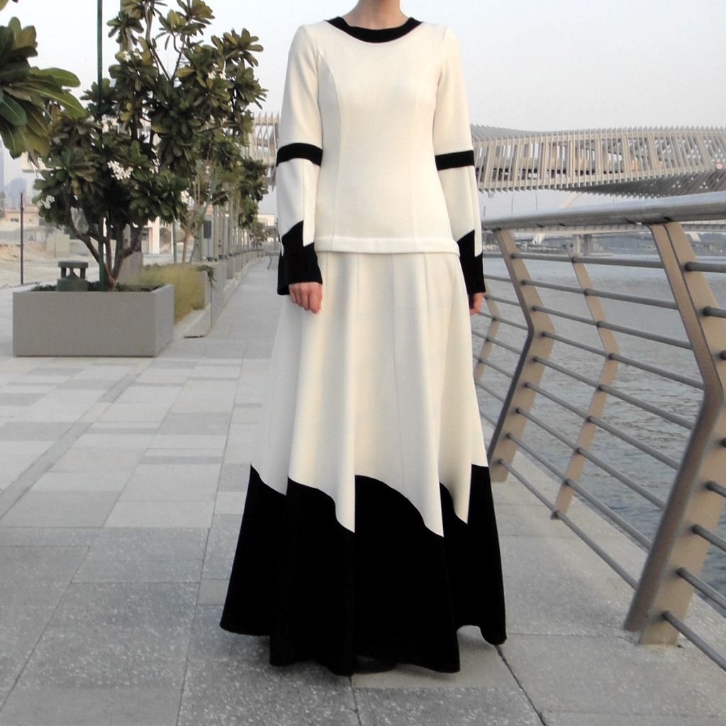 Low-waist Maxi Dress - White/Back-Dress, Abaya-Lana Lik Clothing