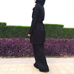 Jumpsuit with Attached Skirt – Black-Jumpsuit-Lana Lik Clothing