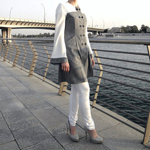 Quilted Top - Grey/White-Top-Lana Lik Clothing