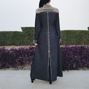 Studded Denim Abaya Set with Handbag and Scarf-Abaya-Lana Lik Clothing