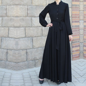 Black Collared Maxi Dress with Belt-Dress, Abaya-Lana Lik Clothing