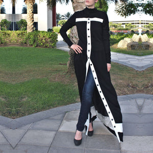 Placket Abaya Dress – Black/White-Abaya-Lana Lik Clothing