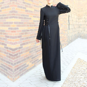 Black Lace Up Maxi Dress-Dress, Abaya-Lana Lik Clothing