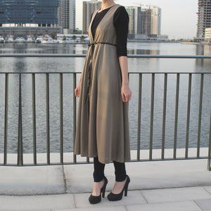 Long Line Belted Vest - Golden-Top-Lana Lik Clothing
