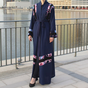 Navy Blue Abaya with Flower Print Decor-Abaya-Lana Lik Clothing