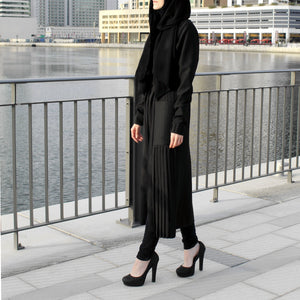 Black Long Line Jacket with Pleats and Pockets-Top-Lana Lik Clothing