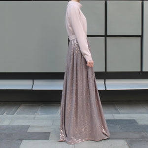 Beige Sequin Occasion Belted Maxi Dress with Long Sleeves and Cowl Neck-Dress, Abaya-Lana Lik Clothing