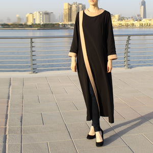 Black Pearl Full-Length Abaya Decorated with Beads, Beige Placket and Cuffs-Abaya-Lana Lik Clothing