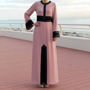 Pink Long Sleeve Maxi Dress with Navy Blue and Golden Chevrons Decor-Dress, Abaya-Lana Lik Clothing