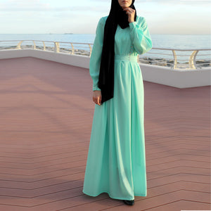 Double Pleats Crepe Maxi Dress with Long Sleeves and Crystal Decor - Mint Green-Dress, Abaya-Lana Lik Clothing