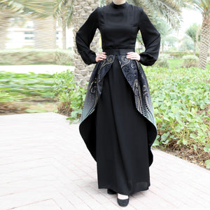 Black Maxi Dress with Detachable Gradient Skirt and Long Sleeves-Dress, Abaya-Lana Lik Clothing
