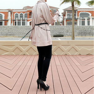 Hemming Stitch Long Loose Fitting Top with Kimono Sleeves and Belt - Beige-Top-Lana Lik Clothing