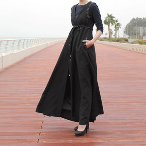 Black Long Line Sleeveless Vest Jacket with Belt, Pockets and Braided Decor at Waist and Shoulders-Top-Lana Lik Clothing