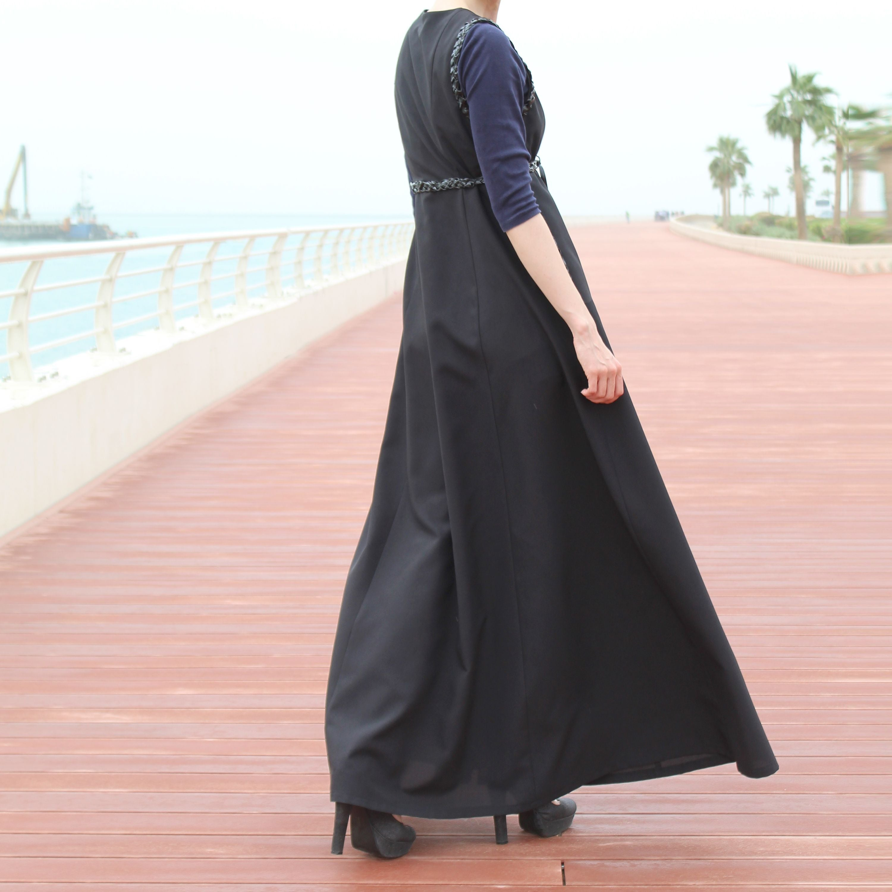 Pockets and Braided Decor at Waist and Shoulders  Loose Long Sleeveless Jacket Black Long Line Sleeveless Vest Jacket with Belt