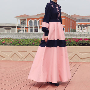 Daisy Abaya Dress – Navy Blue / Pink-Dress, Abaya-Lana Lik Clothing