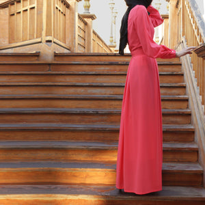 Double Pleats Abaya Maxi Dress with Crystals Decor, Long Sleeves and Belt, Coral Pink-Dress, Abaya-Lana Lik Clothing