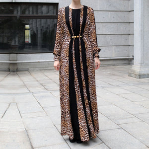 Leopard Print Maxi Dress with Wooden Beads Decor and Black Panels-Dress, Abaya-Lana Lik Clothing