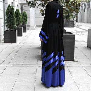 Electric Blue Stripes Abaya in Black-Abaya-Lana Lik Clothing