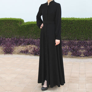 Black Open Front Fukuro Jersey Abaya with Belt and Buttons-Abaya-Lana Lik Clothing