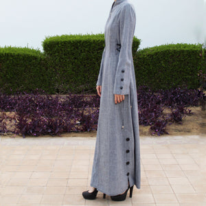 Grey Lace Up Zipper Abaya-Abaya-Lana Lik Clothing