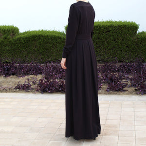 Open Front Abaya with Buttons - Dark Purple-Dress, Abaya-Lana Lik Clothing