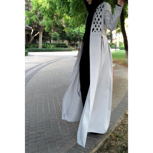Criss-Cross Abaya Gown - Light Grey-Abaya-Lana Lik Clothing