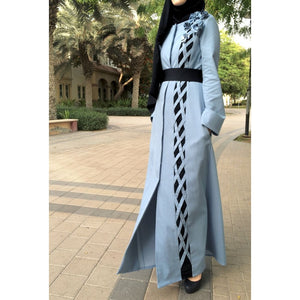 Denim Criss-Cross Abaya-Abaya-Lana Lik Clothing
