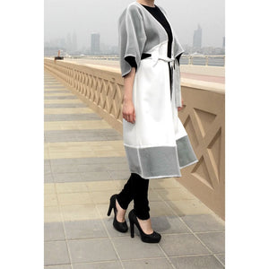White Net Jacket-Abaya-Lana Lik Clothing