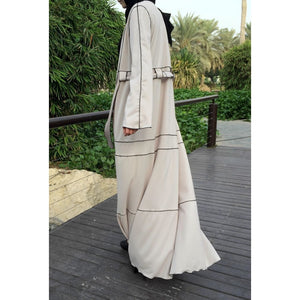 Hemming Stitch Abaya - Beige-Abaya-Lana Lik Clothing