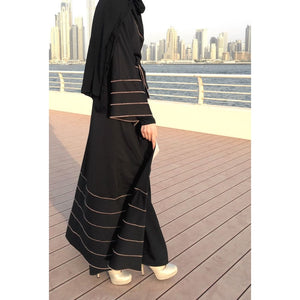 Hemming Stitch Jersey Abaya - Black-Abaya-Lana Lik Clothing
