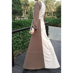 Hemming Stitch Jersey Dress - Beige-Dress, Abaya-Lana Lik Clothing