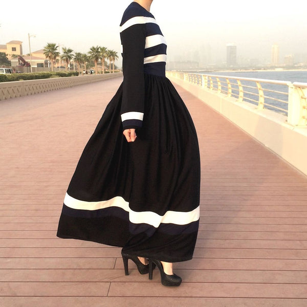 White Navy Stripes Dress-Dress, Abaya-Lana Lik Clothing