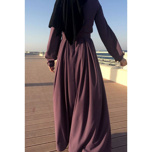 Double Pleats Crepe Dress - Dark Mauve-Dress, Abaya-Lana Lik Clothing