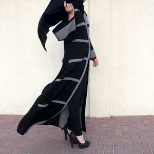Patches Abaya - Black and Grey-Abaya-Lana Lik Clothing