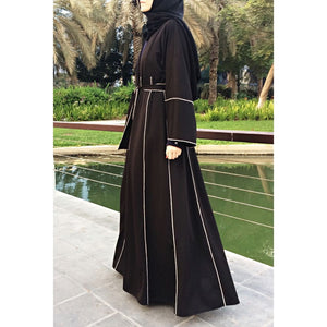Hemming Stitch Abaya with Panels-Abaya-Lana Lik Clothing