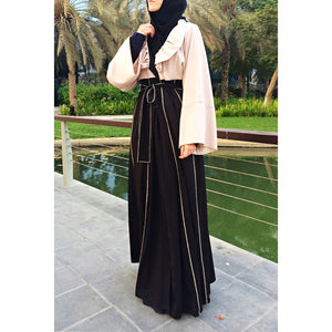 Hemming Stitch Abaya with Panels - Black and Beige-Abaya-Lana Lik Clothing