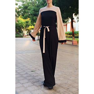 Jersey Jumpsuit - Black and Beige-Jumpsuit-Lana Lik Clothing