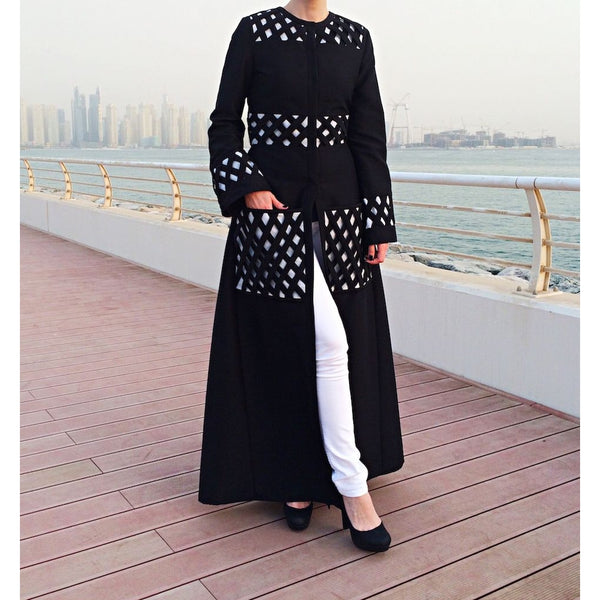 Criss-Cross Pockets Abaya - Black-Abaya-Lana Lik Clothing