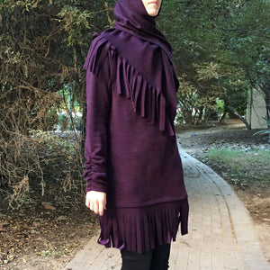 Woolen Fringe Top – Dark Purple-Top-Lana Lik Clothing