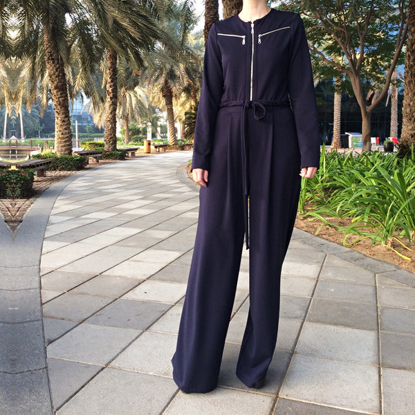 Zippers Jumpsuit - Navy Blue-Jumpsuit-Lana Lik Clothing